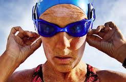 Diana Nyad closeup in swim goggles